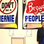 Don't Be a Meanie, Be Good to People (improvisation with Dr. Johann Gudjonsson and Craig Signs). 2014. Car paint on vinyl, photography, 17 x 5 ft. Photography by Sarah Rose Sharp.
