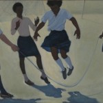 Jump Rope. 1985. Oil on canvas, 33 x 60 in.
