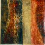 China Bird. 2003. Inks on carved birch plywood / inks and graphite rubbings on layered glassine papers, 96 x 96 in.