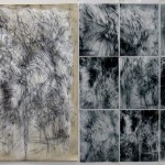 Allegory. 2013. Charcoal pencil on gesso on canvas / photographic details on graphic films, 84 x 122 in.