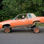 """Salvador """"Chavo"""" and His Radical Hopper, an '83 Cutlass Supreme, from Your Town Tomorrow. 2008. Pigment print."""