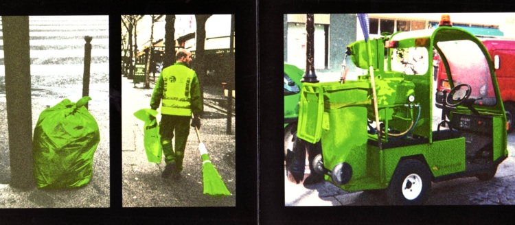 Interior spread from Protecting Paris. 2012. Artist's book, 5.25 x 12.5 in. Photography by Sarah Nesbitt.