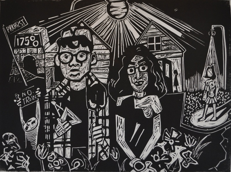 O Pioneers! 2012. Relief print, 9 x 12 in.