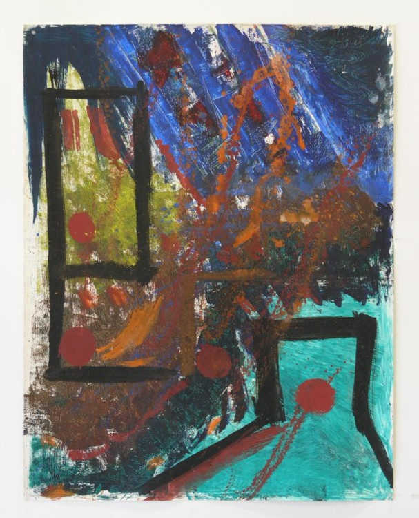 "Spanish Red, 1980, acrylic on paper, 46""x36"" Image courtesy of the artist"