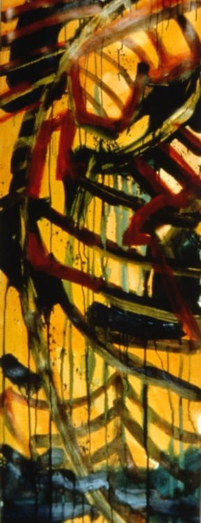 "Thunder Skies, 1992, acrylic on paper, 60""x21"""