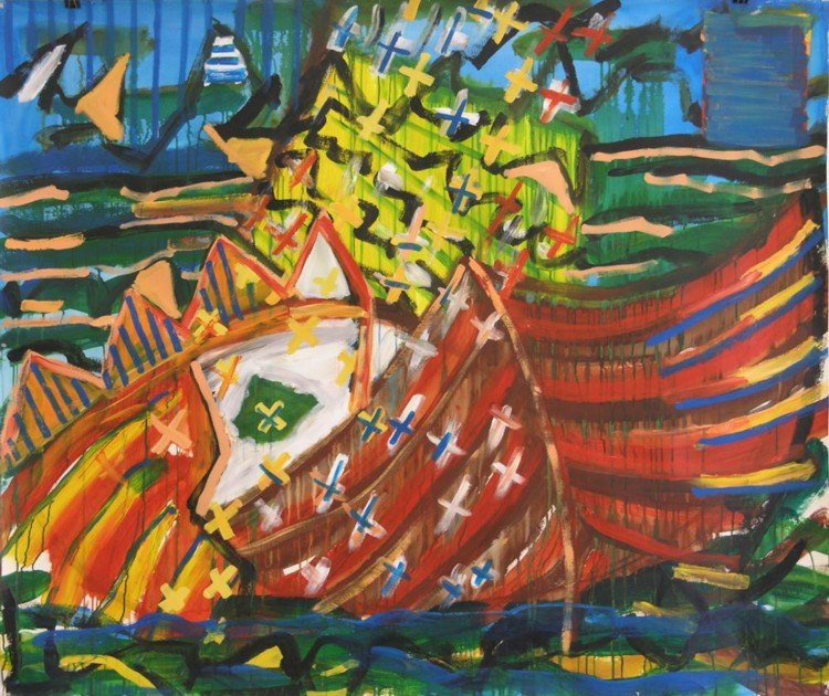 "Lost Kings, 1987, Acrylic on paper, 60"" x 72"" Image courtesy of the artist"