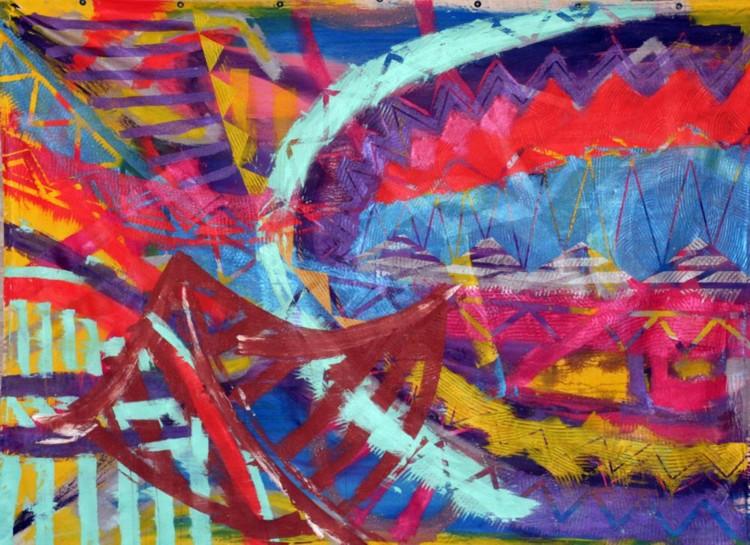 "Mystical  Afronaut, 2005, Acrylic on canvas, 72"" x 84"" Image courtesy of the artist"