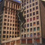 Urban Explorer. 2009. Paper collage, board, wood, 20 x 10 x 3 in.
