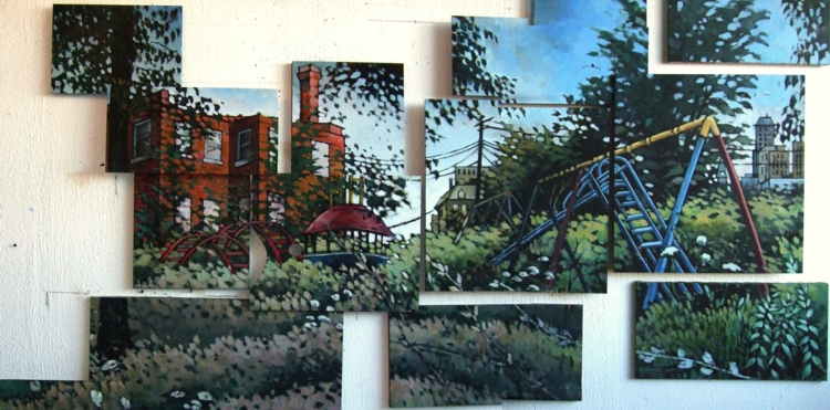 Fourth Street Playground. 2010. Oil, wood, canvas (fourteen panels), 5 x 8 ft.