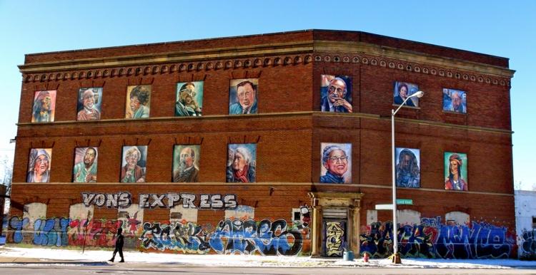 Detroit Portrait Series (sixteen portraits). 2014. Acrylic, wood, 10 x 7 ft. (7); 8 1/2 x 10 ft. (7); 6 x 7 ft. (2).