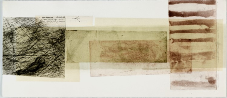 The Reunion of Broken Parts. 2011. Intaglio monoprint with chine collé, 11 x 26 in. Photography by R. H. Hensleigh.