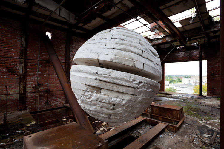 Sisyphus and the Voice of Space. 2010. Site-specific installation and photographs using discarded polystyrene / photographic documentation. Image courtesy of the artist and Susanne Hilberry Gallery.