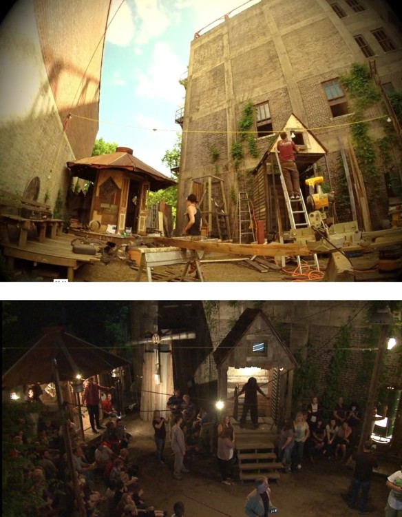 "Calantheon Canyons, Shreveport, Louisiana, 2014 Upper image – Construction Lower Image – Performance Images: stills from ""The Music Box: Calantheon Canyons"", New Orleans Airlift, 2014"