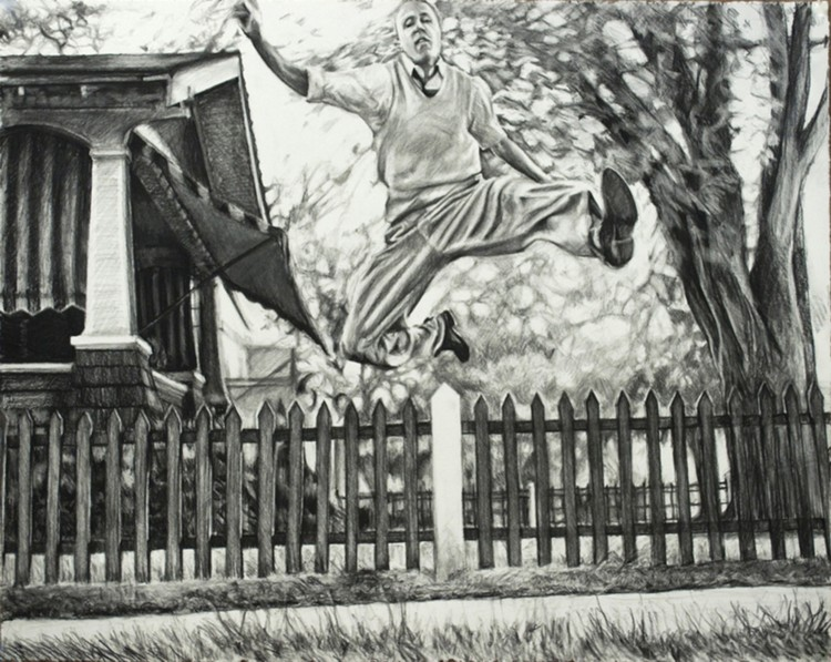 Leaping Man. 2013. Charcoal on paper, 22 x 30 in.