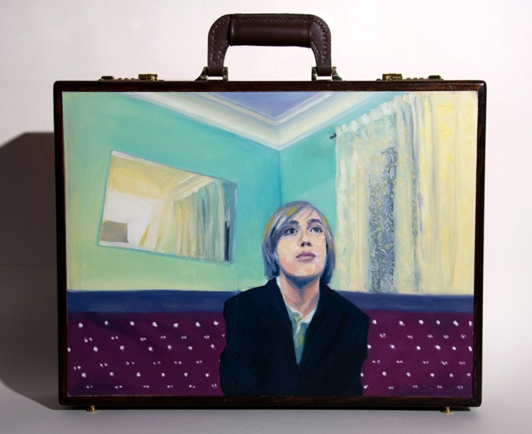 Executive Briefcase: Pride and Joy Edition. 2012. Oil, wood, leather, 18 x 19 x 4 in.