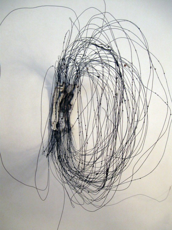 #1. 2013. Salt-fired porcelain, wire, 11 x 3 1/2 x 9 in.