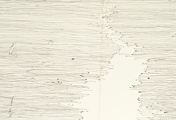 Plinth. 2014. Ink, paper (full piece; detail), 66 x 14 in.