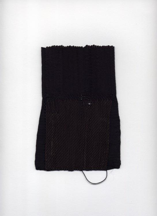 Black Weaving #1. 1994. Rayon, twine, 7 x 4 1/2 in.