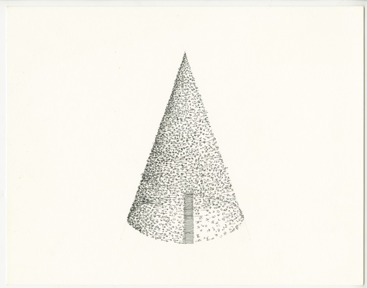 Untitled (Cone with Lines). 1999. Ink, paper, 11 x 14 in.