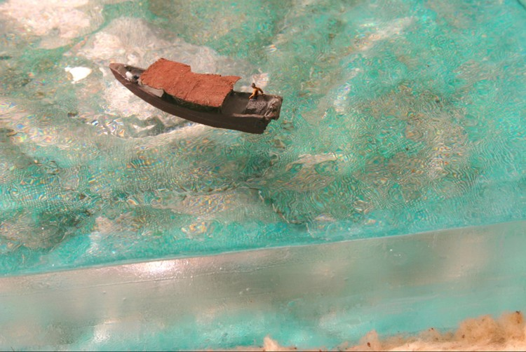 Blast Fishermen, Semporna, Malaysia. Mattress, polyester resin, mixed-media, 20 x 16 x 9 in.