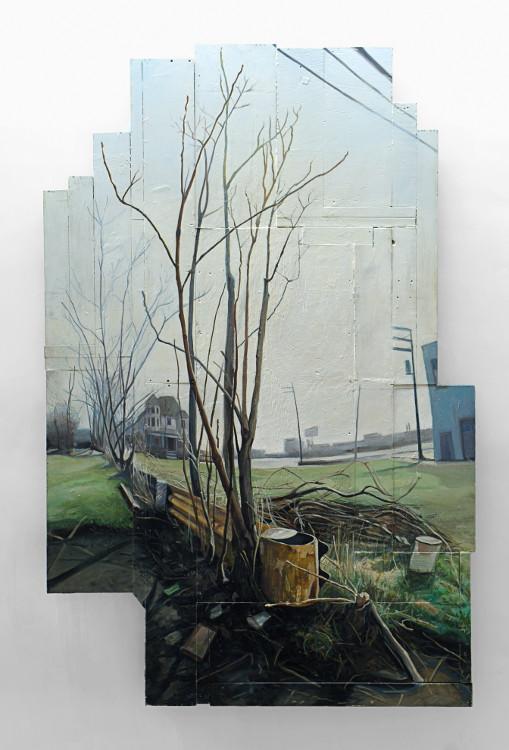 Tree of Heaven. 2002. Oil, wood, 96 x 65 in.