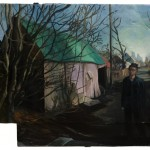 Wanderer in the Alley. 2008. Oil, cardboard, 42 x 60 in.