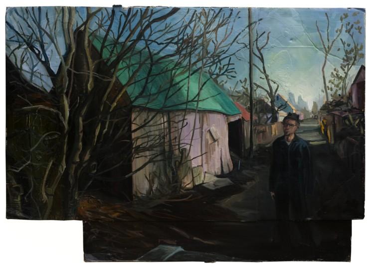 Wanderer in the Alley. 2008. Oil, cardboard, 42 x 60 in.