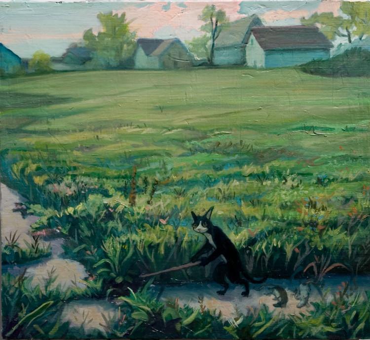 The Rat Catcher. 2012. Oil, wood, 15 x 16 in.