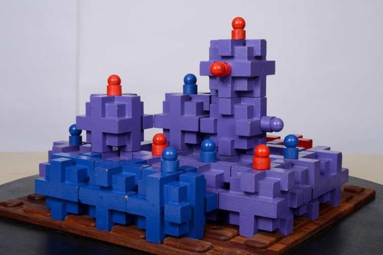 Nexus Game. 2008. Wood, magnets, base 32 x 32 in. Photography by Riva Sayegh.