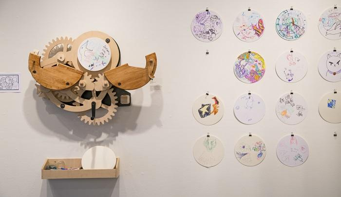 Exquisite Corpse Machine (Prototype 2). 2003. Wooden gears, mixed-media, 27 x 29 x 9 in. Photography by Corrie Baldauf.