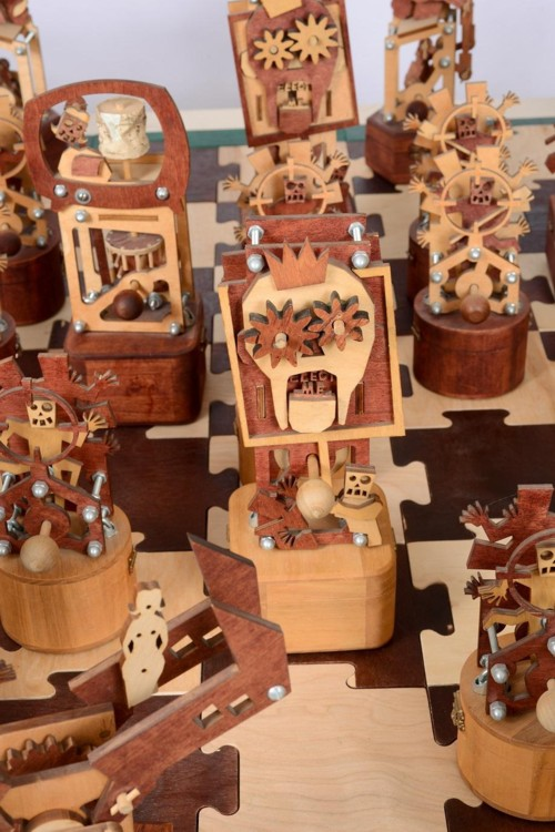 1967 Detroit Rebellion Chess Set. 2003–6. Wood, various hardware, 13 x 60 x 60 in. Photography by Riva Sayegh.