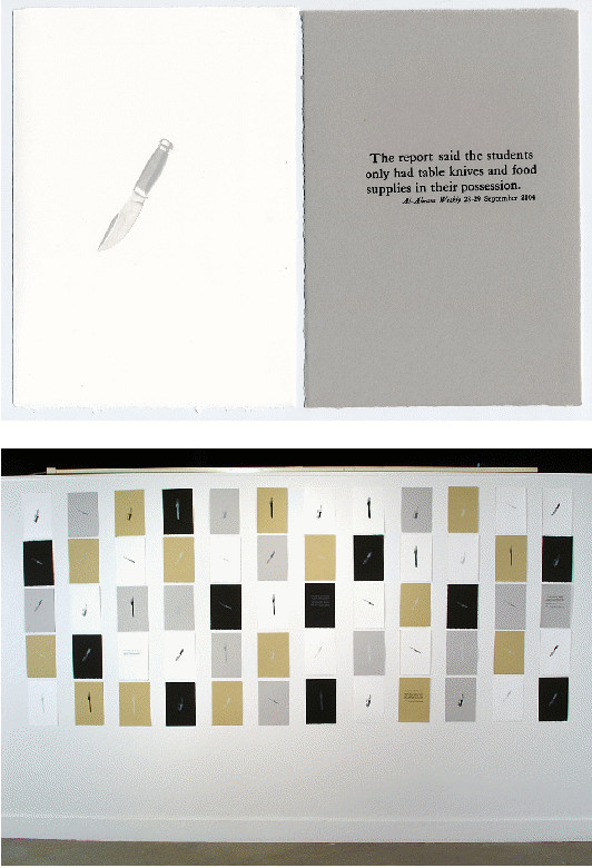 "From 1001 Arabian Knives, 2004, Lithographs and letterpress prints, 7.5""x11"" each  Images courtesy of the artist"