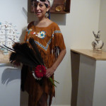 """In Aztek Regalia, (Performance for """"Mundo Merica"""" Exhibition at N'Namdi Gallery),  2015, leather, feathers, beads, acrylic and sacred objects Image by Larry McMann, courtesy of the artist"""