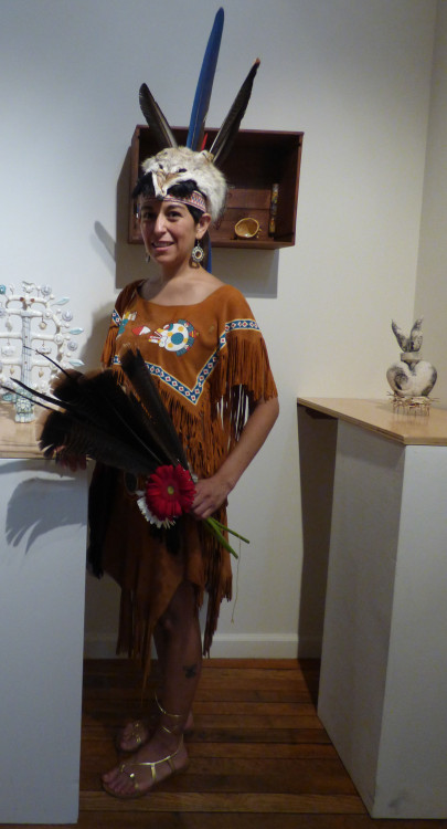 "In Aztek Regalia, (Performance for ""Mundo Merica"" Exhibition at N'Namdi Gallery),  2015, leather, feathers, beads, acrylic and sacred objects Image by Larry McMann, courtesy of the artist"