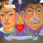 Frida y Diego; La vida es corta, pero el arte perdura, (collaboration with painter Sabrina Nelson),  2015, Chalk mural, 10'x22' Image by Larry McMann, courtesy of the artist