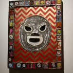 Santo, el Enmascarado de Plata, 2014, Stained glass, sequins, mixed media  Image by Larry McMann, courtesy of the artist