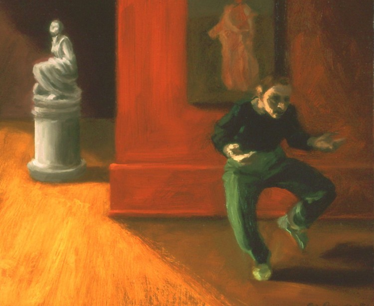 "Museum Dance, 1996, oil on wood, 11 x 12"" Collection of Tom and Shirley Parish Image courtesy of the artist"