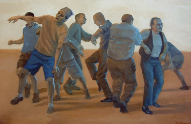 "Man Dance, 2007, oil on wood, 13 x 21"" Collection of Gary Eleinko  Image courtesy of the artist"