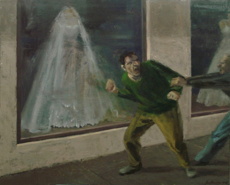 "Street Scene, 1998, oil on wood, 16 x 20"" Image courtesy of the artist"