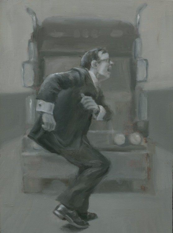 """Highway Dance, 2011, oil on wood, 11 x 8""""  Collection of Eli Sussman Image courtesy of the artist"""