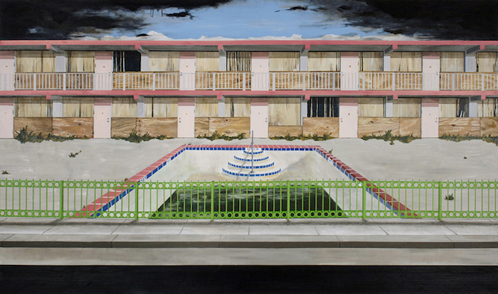 "The Oasis Motel, 2008, acrylic on canvas, 42"" x 72"". Photography by Nicola Kuperus."
