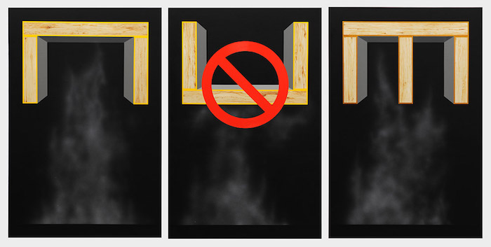 "Basic Vapor Corral, Incorrectly Installed Vapor Corral, Deluxe Vapor Corral (triptych), 2011, acrylic on canvas over panel, 48"" x 32"" (each panel). Photography by Nicola Kuperus."