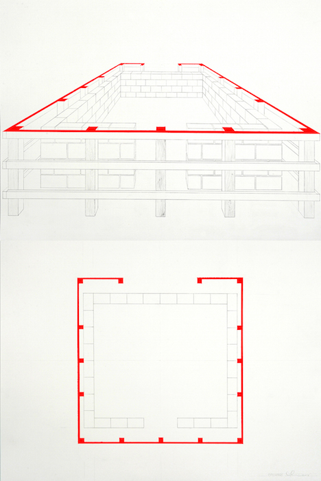 "Openings (diptych), 2014, acrylic, gouache, and pencil on watercolor paper, 36"" x 24."" Photography by Nicola Kuperus."