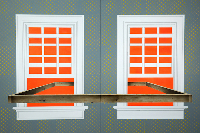 """Obstruction (Window No. 1) (diptych), 2014, acrylic on canvas over panel, 64"""" x 48"""" (each panel). Photography by Nicola Kuperus."""