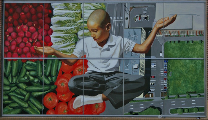 Whole Foods Mural, 2013. Latex and oil on Mapes Corelite, 14.4' x 24.4'. Image courtesy of the artist.