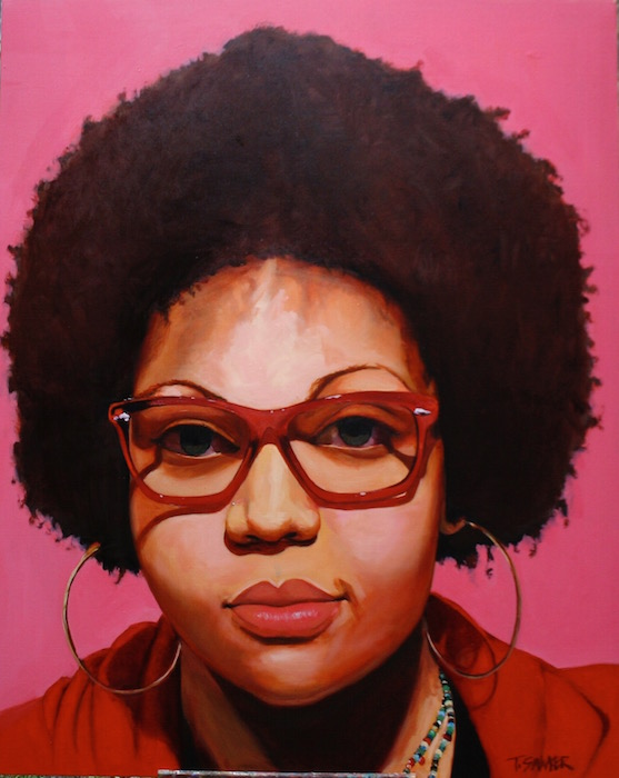 "A Lady in Red…not Jean Hill (Portrait of Whitney Syphax Walker), 2012. Oil on canvas, 60"" x 48"". Image courtesy of the artist."