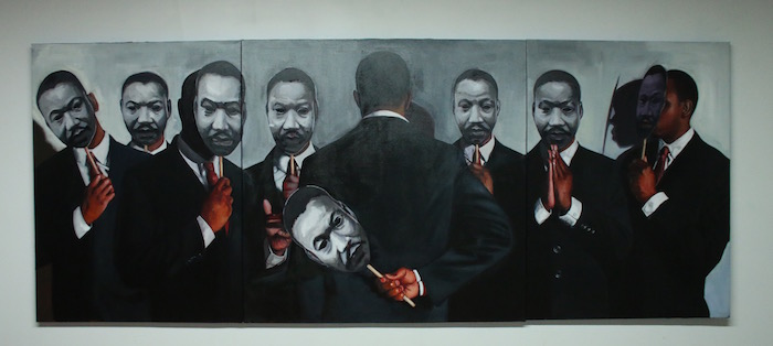 """Congregation"" MLK, 2015. Oil on canvas, 48"" x 120"". Courtesy of the artist."