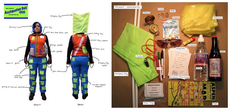 Acclimation Suit 6600 (for Aspen), 2006, Fabricated uniform, name tags, fact cards, 'job', daily performance, dimensions variable. Image courtesy of the artist.