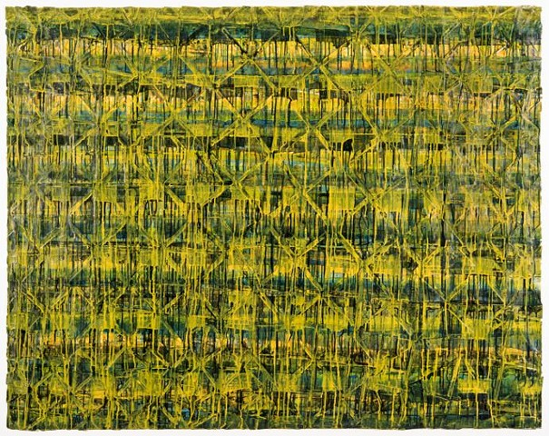 "The Hanging Gardens: Blue/Green/Yellow, 2014 Acrylic and mixed media on gessoed paper mounted on linen, 55.5"" x 70.5"" Image courtesy of the N'Namdi Contemporary, Miami"