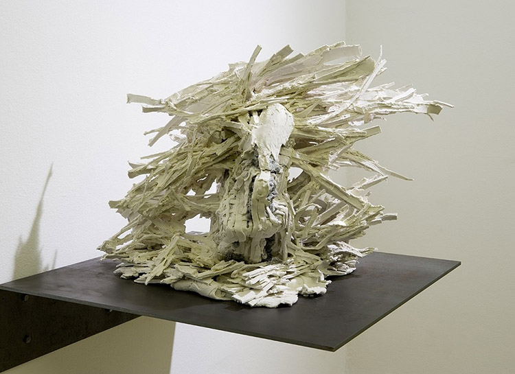 """Seven Breaks: Wheel, 2006  Porcelain paper clay and mixed media, 29"""" w x 24"""" l x 19"""" h Image by Tim Thayer"""